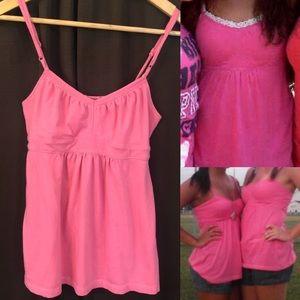 Pink Tank w/ Tie Back & Adjustable Straps